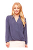 Dressy Long Sleeve Draped Surplice Blouse - BodiLove | 30% Off First Order - 4
