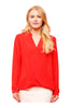 Dressy Long Sleeve Draped Surplice Blouse - BodiLove | 30% Off First Order - 8
