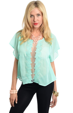 Chic Short Sleeve Top with Lace Vertical Cutout