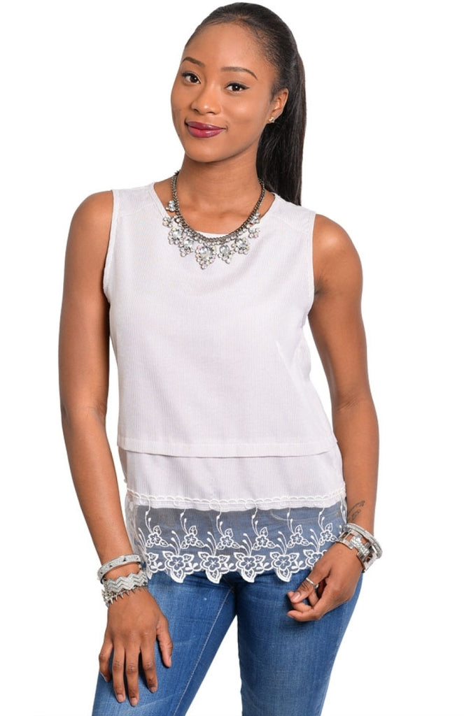 Sleeveless Lace Trim Layered Top - BodiLove | 30% Off First Order  - 3
