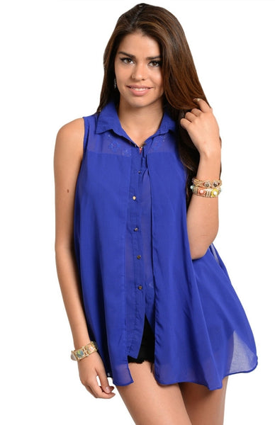 Sleeveless Trapeze Button Down Top - BodiLove | 30% Off First Order  - 1