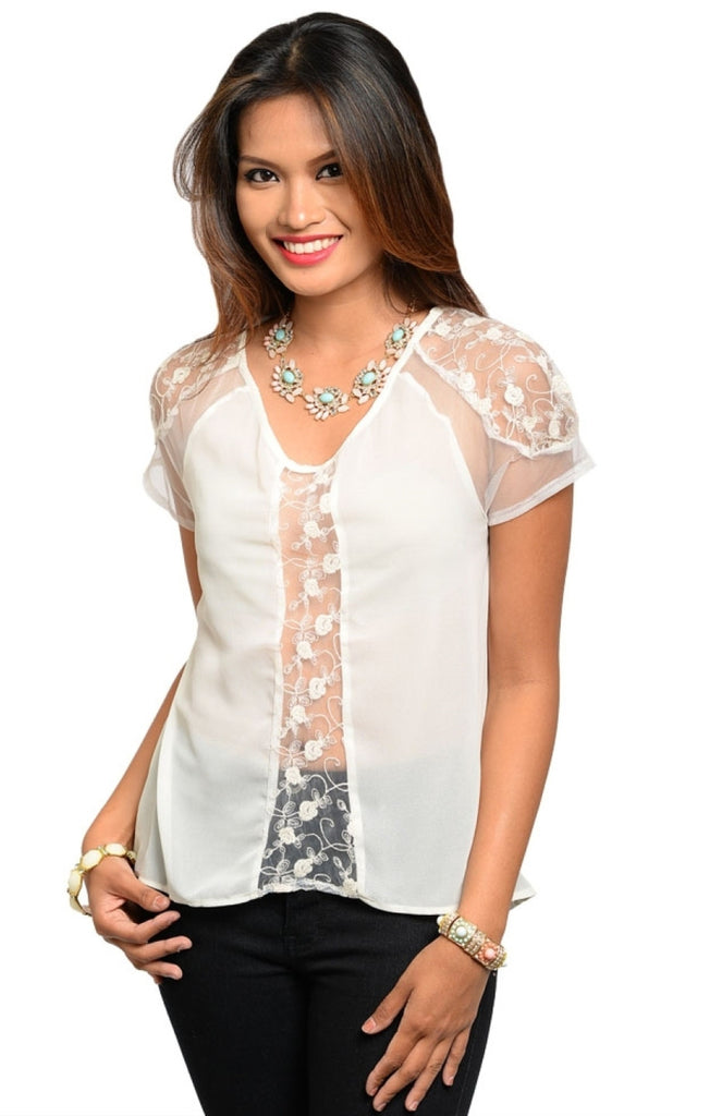Sheer Lace & Chiffon Dressy Top - BodiLove | 30% Off First Order  - 5