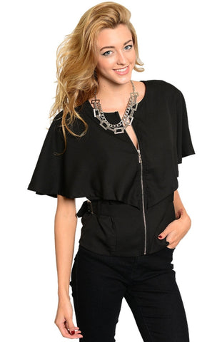 Button Tab Waist Butterfly Sleeve Zip Front Top