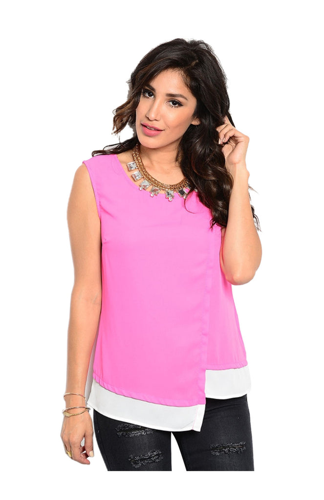 Sleeveless Color Blocked Wrap Blouse - BodiLove | 30% Off First Order  - 1