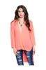 3/4 Sleeve Draped Surplice Hi Low Blouse - BodiLove | 30% Off First Order  - 3