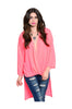 3/4 Sleeve Draped Surplice Hi Low Blouse - BodiLove | 30% Off First Order  - 5
