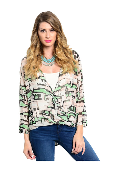 Draped Abstract Print Chiffon Surplice Blouse - BodiLove | 30% Off First Order  - 1