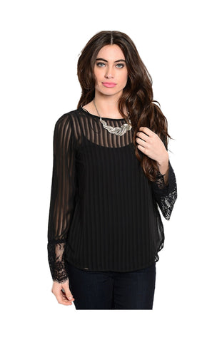 Sheer Chiffon Long Sleeve Blouse W/ Lace Trim