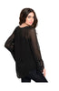 Sheer Chiffon Long Sleeve Blouse W/ Lace Trim - BodiLove | 30% Off First Order  - 2