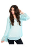 Sheer Chiffon Long Sleeve Blouse W/ Lace Trim - BodiLove | 30% Off First Order  - 9