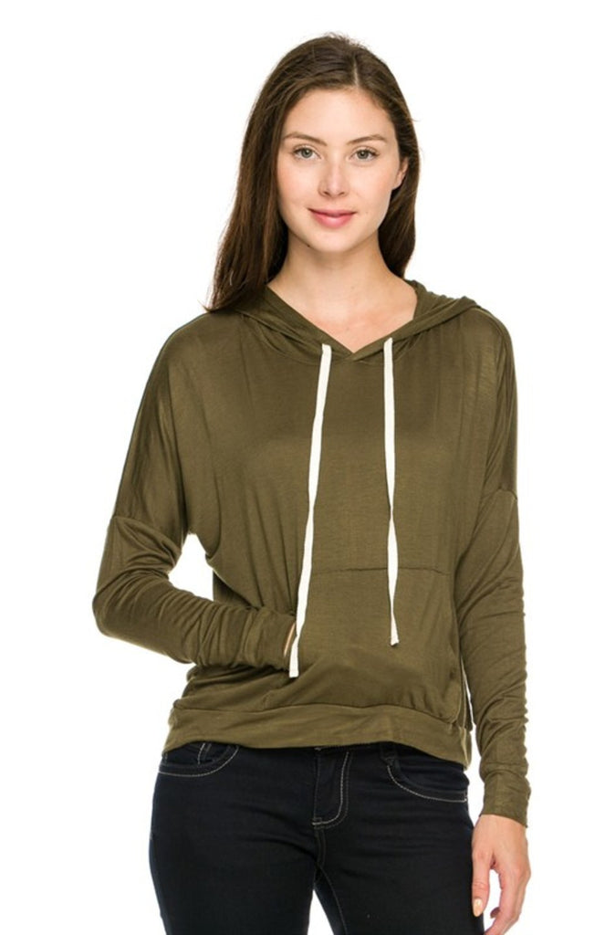 Lightweight Long Sleeve Hi Low Hooded Sweatshirt - BodiLove | 30% Off First Order  - 13