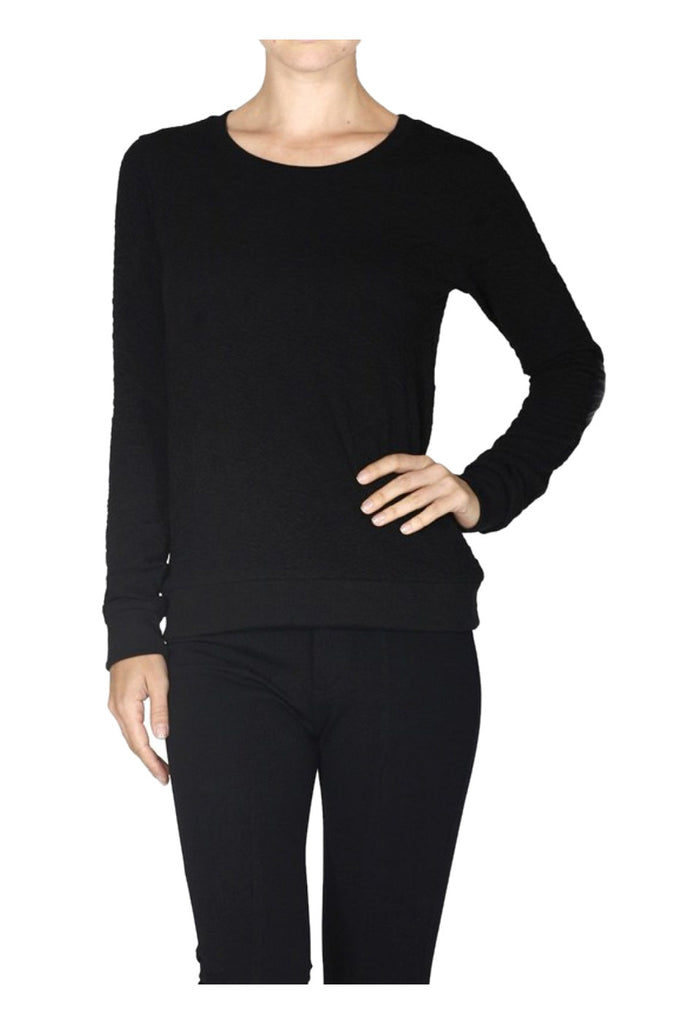 Textured Sweater W/ Faux Leather Elbow Pads - BodiLove | 30% Off First Order  - 5