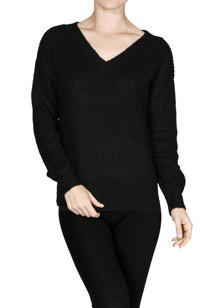 Long Sleeve V-Neck Cable Knit Sweater - BodiLove | 30% Off First Order  - 1