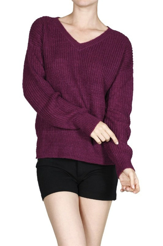 Long Sleeve V-Neck Cable Knit Sweater - BodiLove | 30% Off First Order  - 19