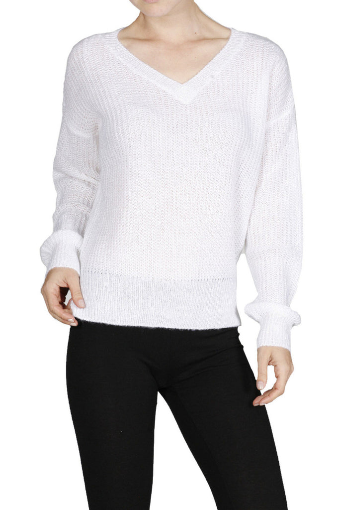 Long Sleeve V-Neck Cable Knit Sweater - BodiLove | 30% Off First Order  - 23