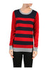 Striped Long Sleeve Knit Sweater - BodiLove | 30% Off First Order - 10 | Red & Navy