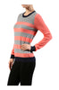 Striped Long Sleeve Knit Sweater - BodiLove | 30% Off First Order - 15 | Coral & Heather Gray