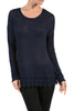 Long Sleeve Sweater With Sheer Lace Trim - BodiLove | 30% Off First Order  - 6