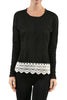 Long Sleeve Sweater With Sheer Lace Trim - BodiLove | 30% Off First Order - 1