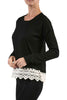Long Sleeve Sweater With Sheer Lace Trim - BodiLove | 30% Off First Order - 3