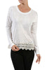 Long Sleeve Sweater With Sheer Lace Trim - BodiLove | 30% Off First Order - 10 | Ivory1