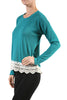 Long Sleeve Sweater With Sheer Lace Trim - BodiLove | 30% Off First Order - 8