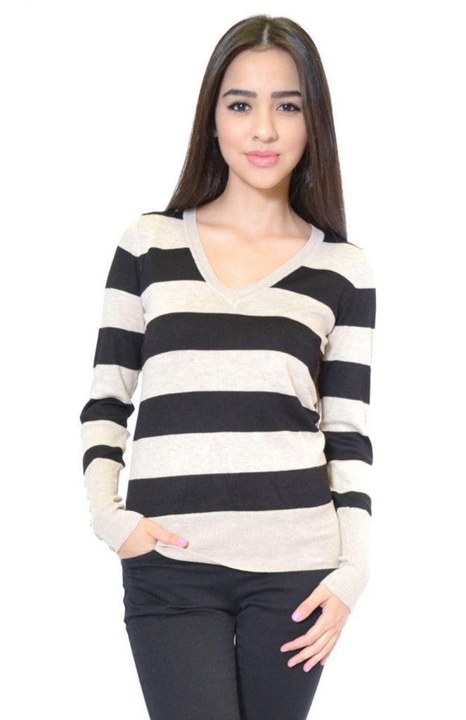 Striped Long Sleeve V-Neck Knit Sweater - BodiLove | 30% Off First Order - 16