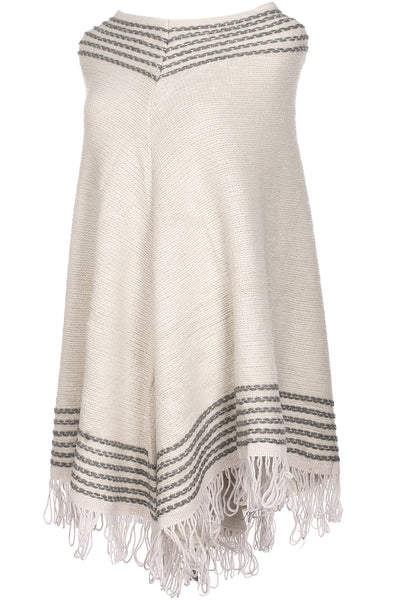 Textured Cable Knit Pullover Poncho W/ Fringe Trim - BodiLove | 30% Off First Order - 1