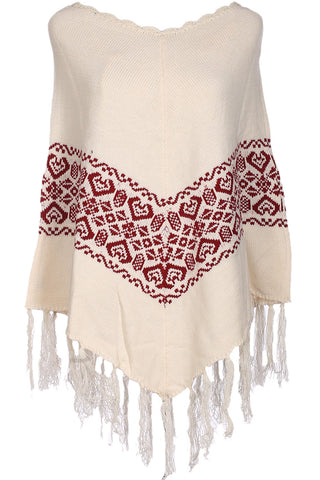 Trendy Cable Knit Pullover Poncho W/ Fringe Trim