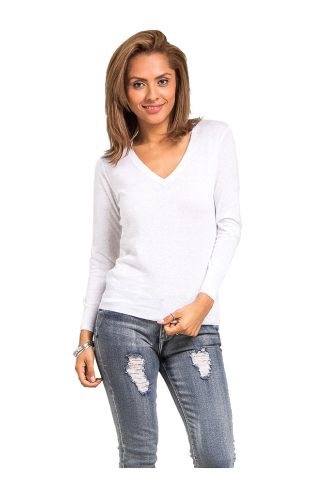 Long Sleeve V-Neck Knit Sweater | 30% Off First Order | White
