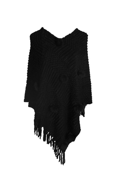Pullover Knit Poncho With Fringe Trim - BodiLove | 30% Off First Order  - 1
