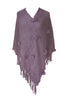 Pullover Knit Poncho With Fringe Trim - BodiLove | 30% Off First Order  - 4