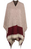 Color-Blocked, Patterned Knit Shawl | 30% Off First Order | Cream & Burgundy