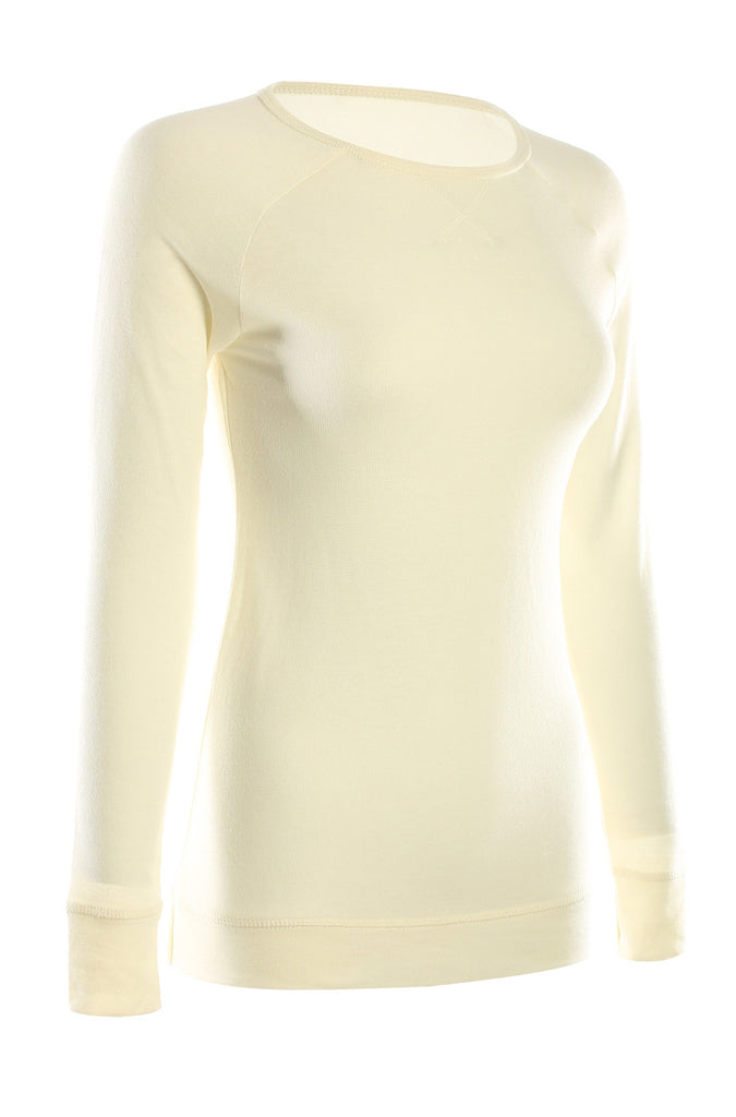 Long Sleeve Lightweight Crew Neck Sweatshirt | 30% Off First Order | Ivory