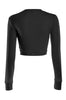Cropped Long Sleeve Crew Neck Sweatshirt | 30% Off First Order | Black