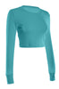 Cropped Long Sleeve Crew Neck Sweatshirt | 30% Off First Order | Turquoise