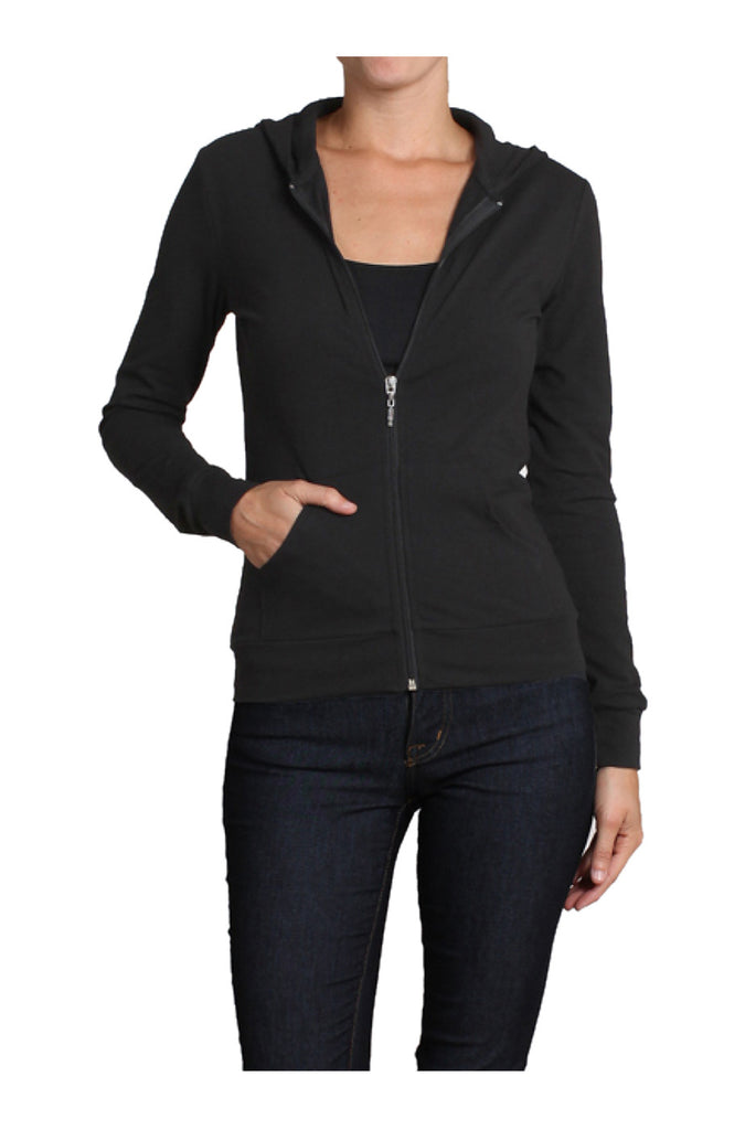 Long Sleeve Zip Up Hooded Sweatshirt | 30% Off First Order | Black1