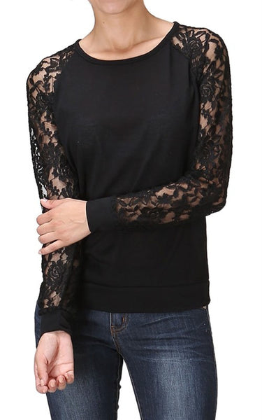 Trendy Lace Raglan Sleeve Pullover Knit Top - BodiLove | 30% Off First Order  - 1