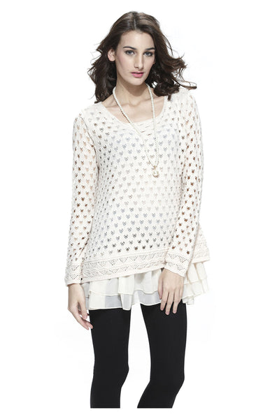 Eyelet Top With Tiered Lining | 30% Off First Order | Beige