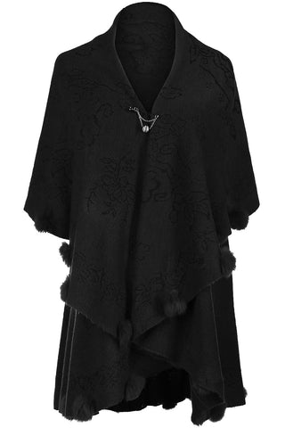 Oversize Shawl Collar Cape W/ Pom Pom Trim