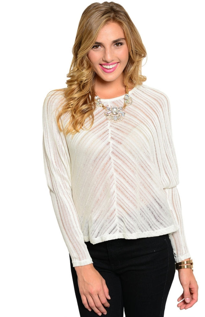 Diagonal Striped Dolman Sleeve Knit Sweater - BodiLove | 30% Off First Order  - 5