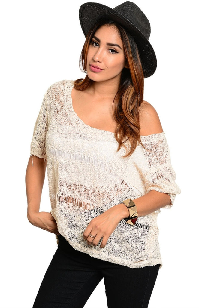 Short Sleeve Open Knit Low Back Sweater - BodiLove | 30% Off First Order  - 5