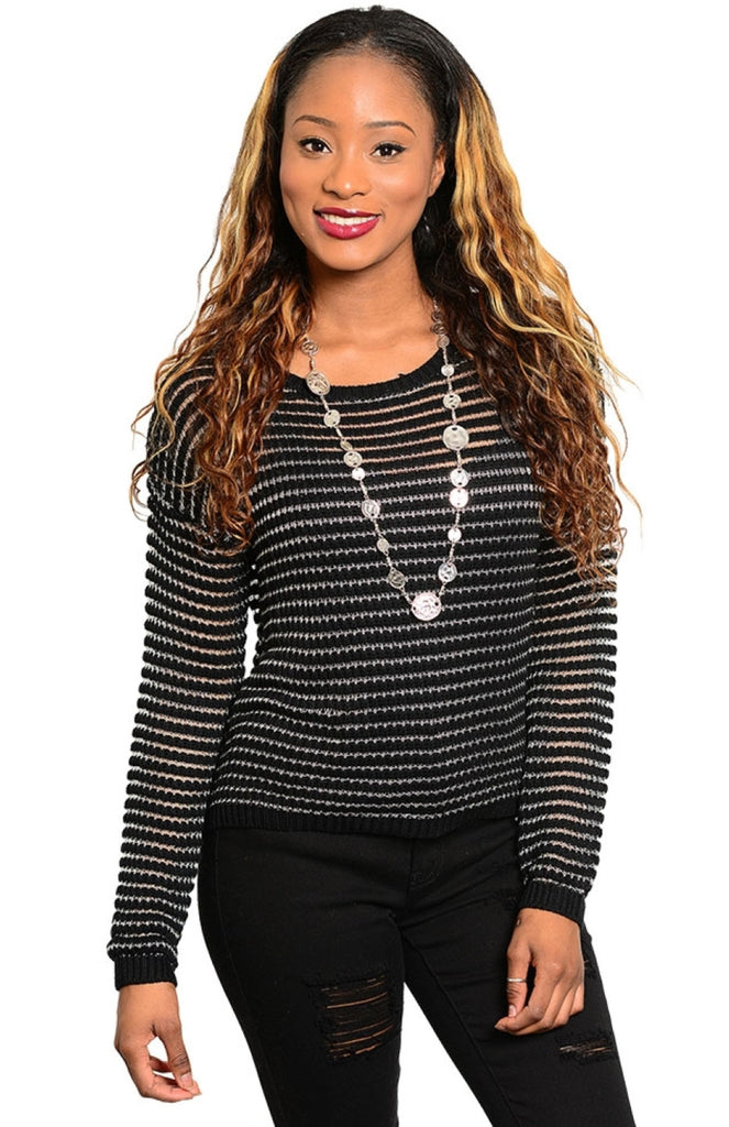 Long Sleeve Striped Knit Sweater - BodiLove | 30% Off First Order  - 1
