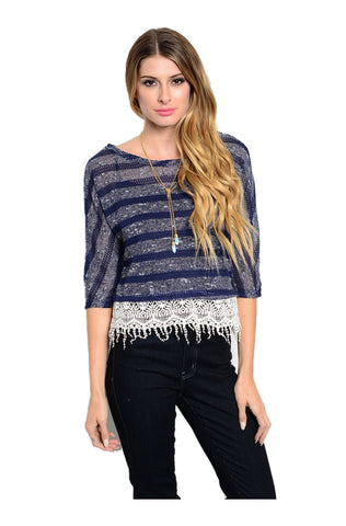 3/4 Sleeve Knit Top W/ Crochet Fringe Trim