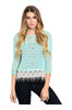 3/4 Sleeve Knit Top W/ Crochet Fringe Trim - BodiLove | 30% Off First Order  - 3