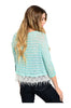 3/4 Sleeve Knit Top W/ Crochet Fringe Trim - BodiLove | 30% Off First Order  - 4