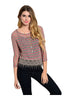 3/4 Sleeve Knit Top W/ Crochet Fringe Trim - BodiLove | 30% Off First Order  - 5