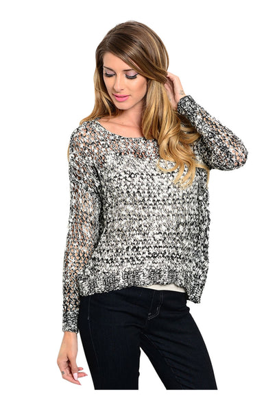 Long Sleeve Open Cable Knit Pull Over Sweater - BodiLove | 30% Off First Order  - 1
