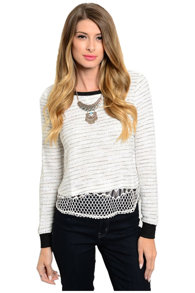 Textured Long Sleeve Striped Knit Sweater - BodiLove | 30% Off First Order  - 3