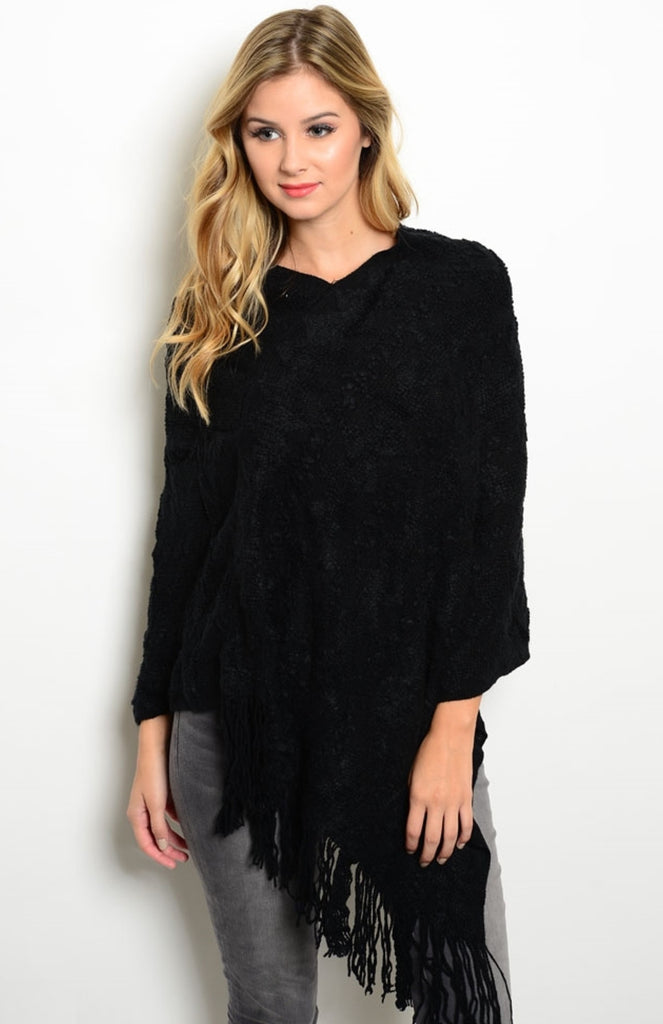 Super Soft, Solid-Colored Fringe Poncho | 30% Off First Order | Black3